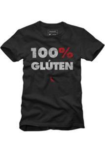 Camiseta 100% Gluten Reserva Masculina - Masculino-Preto