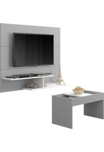 "Painel Para Tv De 50"" Com Mesa De Centro 2683-Multimóveis - Cinza / Branco"