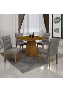 Conjunto De Mesa Com 4 Cadeiras Itália Iii Linho Imbuia Mel E Cinza