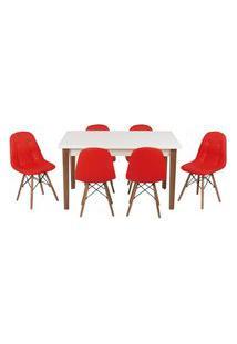 Conjunto Mesa De Jantar Luiza 135Cm Branca Com 6 Cadeiras Botonê - Vermelho