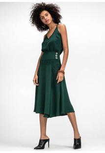 Vestido Midi Em Tecido Com Detalhe De Pala