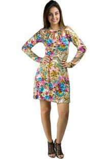 810f8c9b2 ... Vestido Banna Hanna Visco Estampado Com Bojo E Cinto Floral Ouro -  Feminino-Floral