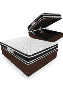 Cama Box Baú Queen + Colchão De Espuma D33 - Castor - Black White Double Face 158X198X69Cm Marrom