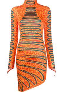 Maisie Wilen Vestido Assimétrico Com Estampa Abstrata - Laranja