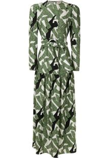 Adriana Degreas Vestido Longo De Seda Estampado - Verde