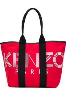 Kenzo Bolsa Tote Com Estampa De Logo - Vermelho