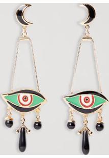 Brinco Metal Olho Color Ouro/Verde - U