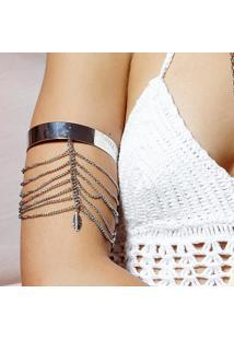 Bracelete Piuka Arm Cuff Correntes Camadas Folha Prata