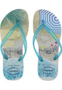 550414d59d ... Chinelo Havaianas Slim Paisagem - Feminino - Marrom Cla Azul Cla