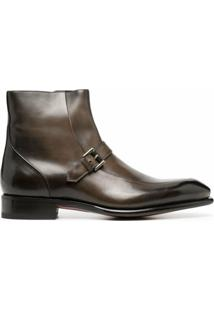 Santoni Ankle Boot De Couro - Marrom