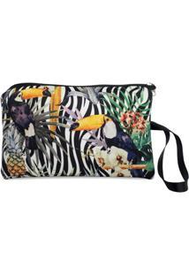 Necessaire Clássica Em Neoprene Tritengo - Zebra Tucano Floral - Feminino