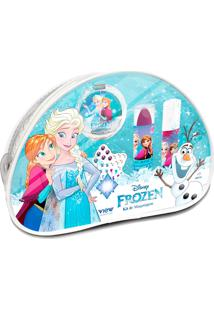 Nécessaire De Maquiagem Infantil Frozen + Grátis 1 Cartela De Adesivo De Unha