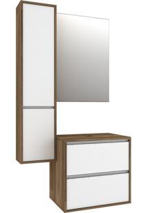Gabinete Banheiro Bosi Firenze Cuba Espelho E Armário Nogal/Branco