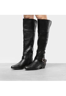 Bota Over The Knee Mooncity Textura Feminina - Feminino-Preto