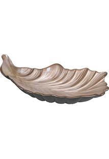 Prato Para Servir Feather Oval Marrom Em Vidro - Dekor Cam - 35X17,5 Cm