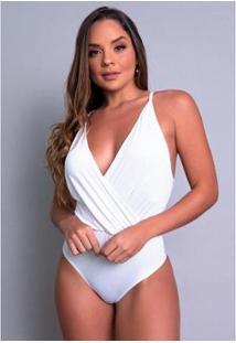 Body Bojo Mvb Modasverão Alcinha Cavado Feminino - Feminino-Branco