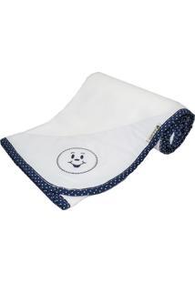 Cobertor Cuca Criativa Poá Azul Marinho