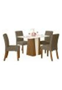 Sala De Jantar Mesa Órus 120Cm Com 4 Cadeiras Vita Nature/Off White/Bege - Henn