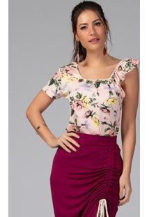 Blusa Com Alça Em Babado Floral Rosê