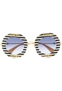 Gucci Eyewear Striped Round Frame Sunglasses - Branco