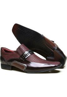 Sapato Casual Calvest Couro Textura Viena Metal Onix Masculino - Masculino-Bordô