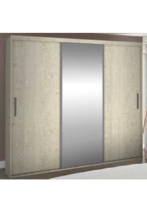 Guarda-Roupa Casal 3 Portas Com 1 Espelho 100% Mdf 1975E1 Marfim Areia - Foscarini