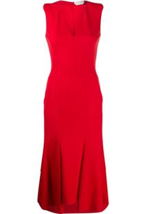 Alexander Mcqueen Vestido Assimétrico Com Decote Em V - Vermelho