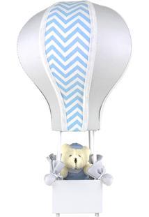 Abajur Balãozinho Cintura Urso Chevron Azul Quarto Bebê Infantil Menino