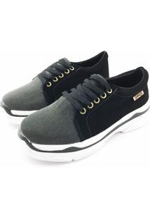Tênis Chunky Quality Shoes Feminino Multicolor Preto Nobuck Preto 35