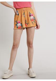 Short Feminino Estampado Floral Geométrico Mostarda