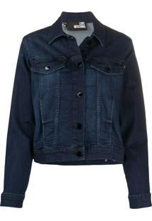 Love Moschino Jaqueta Jeans Com Estampa De Logo - Azul
