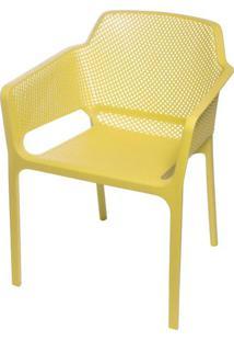 Cadeira Net Nard Empilhavel Polipropileno Com Braco Cor Amarelo - 53568 - Sun House