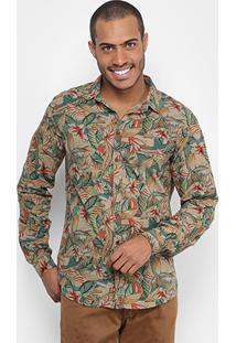 Camisa Colcci Slim Fit Flores Masculina - Masculino-Caramelo