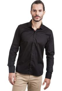 Camisa Di Sotti Lisa Silk Preta - Masculino