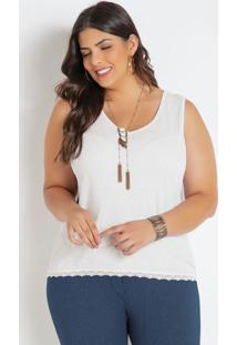 Regata Branca Com Renda Plus Size