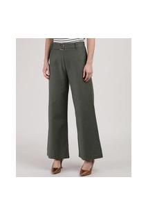 Calça Feminina Pantalona Cintura Alta Com Cinto Verde Militar