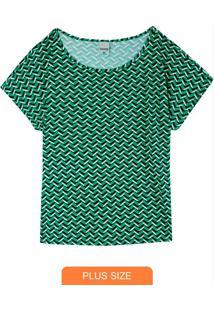 Blusa Estampada Geométrica Em Viscose Plus
