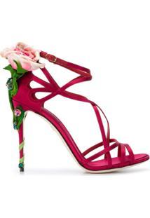 Dolce & Gabbana Sandália 'Keira' De Cetim Com Aplicações - Vermelho