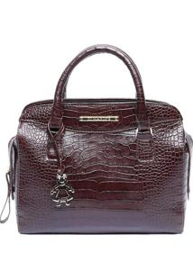 Bolsa De Mão Em Couro Textura Crocodilo - Bordô - 28Di Marlys