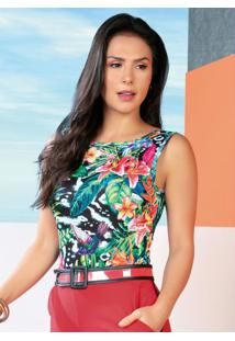 Body Floral Com Decote Costas Profundo
