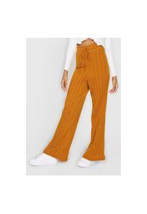 Calça Tricot Fiveblu Pantalona Amarração Amarela