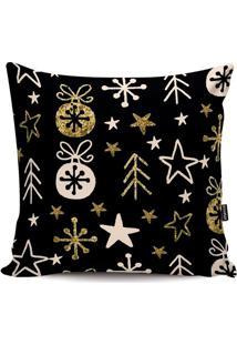 Capa De Almofada ÁRvore De Natal- Preta & Dourada- 4Stm Home