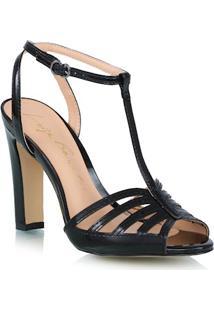 Sandália Salto Alto Com Recortes Preto