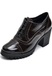 Ankle Boot Em Couro Q&A Casual Verniz Café - Tricae