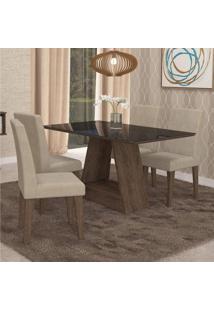 Sala De Jantar Completa Com Mesa Tampo Mdf/Vidro Alana E 4 Cadeiras Milena Marrocos/Suede Bege
