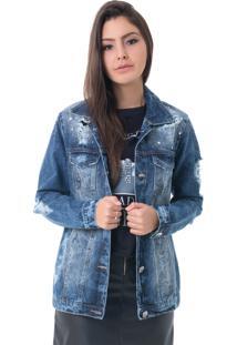 Jaqueta Pkd Destroyed Com Aplicação Jeans Azul