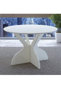 Mesa De Madeira 100% Mdf Redonda Tm12 Off White - Dalla Costa
