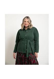 Jaqueta Parka Em Sarja Com Cinto Curve & Plus Size Verde