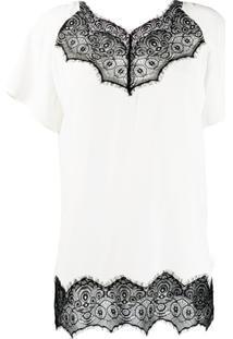 Escada Sport Camiseta Com Renda Na Barra - Branco