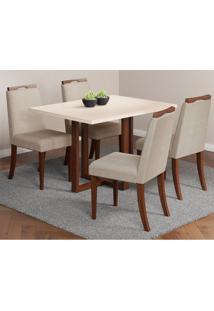 Conjunto De Mesa De Jantar Bélgica Com 4 Cadeiras Linho Off White E Bege